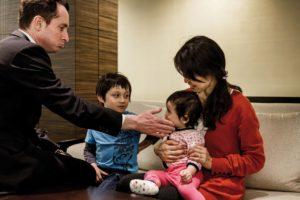 Tokyo, March 18 2013 - Portrait of Junko Watanabe, her husband Richard, her son Alexander and her daughter Rika.