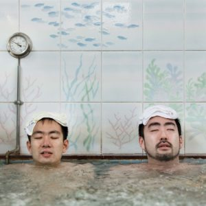 Tokyo, October 19 2013 - Japanese males enjoying a hot bath at Takara-yu, a sento in the Kita-senju area, Adachi ward.