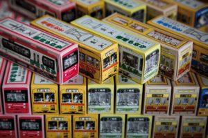 Tokyo, November 15 2012 - Streetcar shaped cakes sold at Akemi Seika near Kajiwara Station?.
