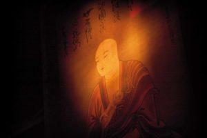 En) January 2010 - Koyasan, Japan. Painting of Kobo-daishi, or Kukai, founder of the Shingon school of Buddhism in Japan. He was also a man of letters and created the Japanese hiragana writing system. (Fr) Janvier 2010 - Koyasan, Japon. Portrait de Kukai, ou KoboDaishi, dans la salle de priere du temple du Rengejo-in. Fondateur du bouddhisme Shingon au Japon apres un sejour en Chine en 816, Kukai fut aussi un homme de lettres. Il inventa notamment les hiraganas, un des trois alphabets japonais.