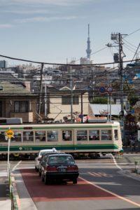 Tokyo, November 15 2012 - Toden Arakawa streetcar near Takinogawa Itchome Station??.