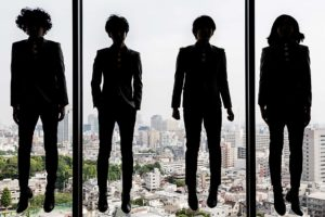 """Tokyo, May 28 2015 - Portrait of Japanese rock band 'The Bawdies"""" at JVC office in Shibuya."""