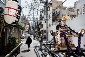 Tokyo, May 19 2013 - Preparing a mikoshi (divine palanquin) on the street during Sanja matsuri in the Asakusa area.