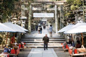 Kotohira, Februray 16 2014 - an old man walks back from the main shrine.
