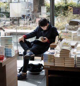 Tokyo, February 12 2014 - At Tsutaya Daikanayama bookshop, one can read books while drinking a coffee.