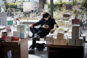 Tokyo, February 12 2014 - At Tsutaya Daikanayama bookshop, one can read books while drinking a coffee.