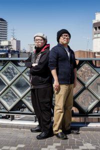 Kawaguchi, Saitama prefecture, March 27 2015 - Portrait of Japanese mangakas Saimura Tsukasa (left) and Takahashi Kozo (right) near Kawaguchi station.
