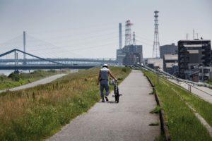 Tokyo, May 2013 - Arakawa river banks in the Sunamachi area, Koto ward.