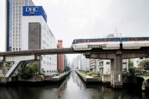 Tokyo, July 2013 - Monorail in the Tamachi area. The line opened in 1964 to coincide with the 1964 Summer Olympics.