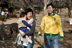 Warabi, Saitama prefecture, March 17 2013 - Portrait of Tomoko Ida, her husband Andre and her son Lukas.