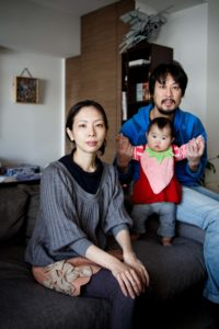 Tokyo, March 17 2013 - Portrait of Kana KUROMOTO, her husband Hiroyuki and her daughter Chihiro.