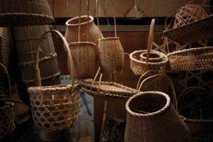Minamiboso, Chiba prefecture, October 9 2012 -?Hiroshi MIYATA, a Japanese bamboo craftsman, making baskets in his workshop.