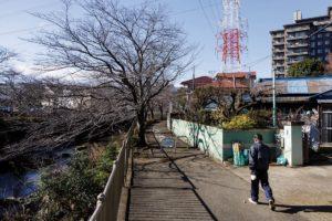 Yokohama, Midori ward, December 22 2014 - Local suburb landscapes near Nagatsuta train station.