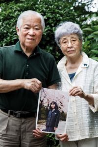 Kawasaki, July 21 2014 - Shigeru Yokota, 81, and Sakie Yokota, 78, are the parents of Megumi Yokota, a Japanese citizen who was abducted by North Korean agents in 1977 at the age of 13.