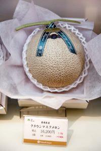 Tokyo, July 17 2014 - At Takashimaya Nihonbashi's depachika (food court). vegetable corner. A high-class melon priced 16200JPY (120 euro)