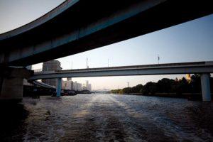 Tokyo, July 16 2011 - Industrial cruise in Tokyo and Kawasaki bay.Bridges on the way to Tokyo bay.