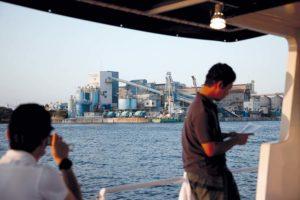 Tokyo, July 16 2011 - Industrial cruise in Tokyo and Kawasaki bay. Industrial plant in Tokyo bay.
