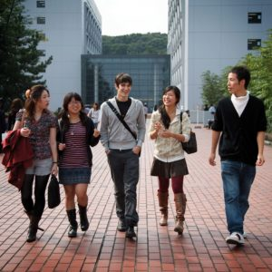 Tokyo, October 2010 - Japanese students and a French student in Chuo university, Tama campus.