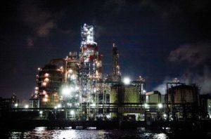 Tokyo, July 16 2011 - Industrial cruise in Tokyo and Kawasaki bay. Industrial plant in Kawasaki.