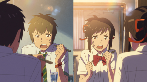 Taki et Mitsuha sont les deux principaux protagonistes du dernier long-métrage de Shinkai Makoto qui a battu tous les records au Japon. ©2016 Toho Co., Ltd. / CoMix Wave Films Inc. / Kadokawa Corp. / East Japan Marketing & Communications,Inc. / Amuse Inc. / voque ting co.,ltd. / Lawson Hmv Entertainment, Inc