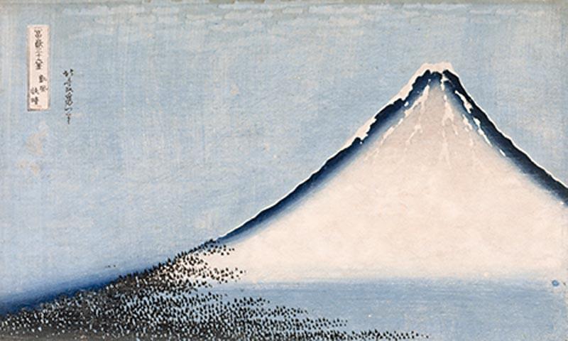 Le Fuji bleu (détail), Série Trente-six vues du mont Fuji, Katsushika Hokusai, vers 1832-1835, estampe nishiki-e.